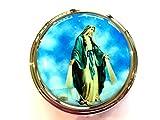 Caja de rosario MIRACULOUS con tapa plateada PYX, Hospital de Comunión, Hospital Católico