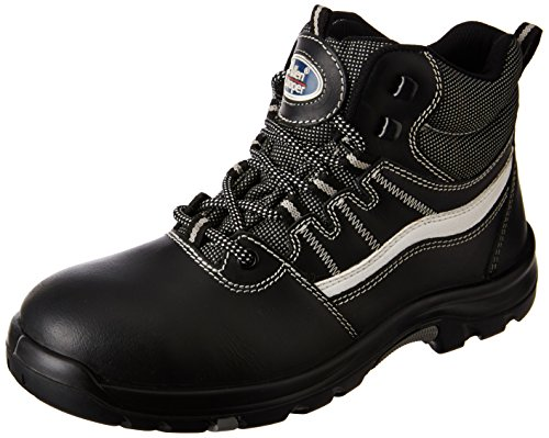 Allen Cooper AC-1426 High Ankle Heat Resistant Safety Shoe, PU NR Sole, Black, Size 8