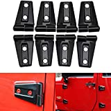 CheroCar Door Hinge Covers Protector Black Kit Fits For Jeep Wranlger Unlimited Rubicon Sahara Sports Accessories 2007-2018 JK JKU 8pcs
