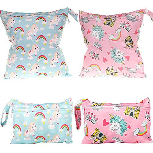 Bolsa de Pañales,LIUER 4pcs Bolsa de Pañales impermeable Reutilizable con Estampado animal para Bebé con Cremallera Organizador de Pañales(Unicornio)