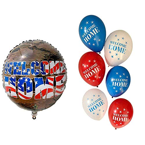 Havercamp Welcome Home American Heroes Bundle | Banner, Latex Balloons, Mylar Balloon | Welcoming Parties, Homecoming Events, Military Retirement, Troop Reunions
