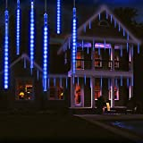OMGAI 30cm 8 Tubes Meteor Shower Rain Lights with Timer Function - 288 LED Drop/Icicle Snow Falling Raindrop Cascading Lights for Wedding Party Christmas - White
