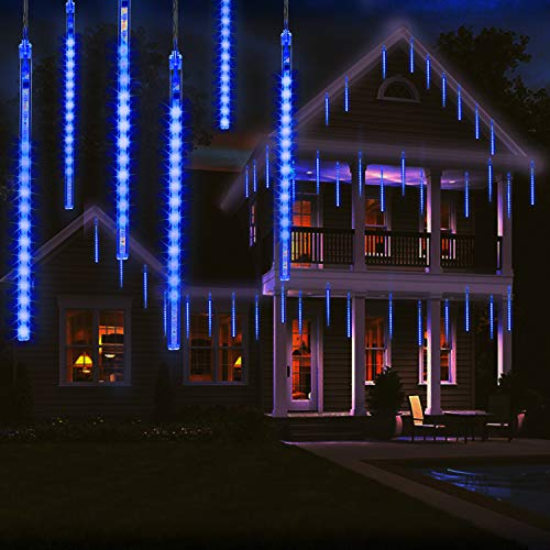 OMGAI 30cm 8 Tubes Meteor Shower Rain Lights - 144 LED Drop/Icicle Snow Falling Raindrop Cascading Lights for Wedding Party Christmas - Blue