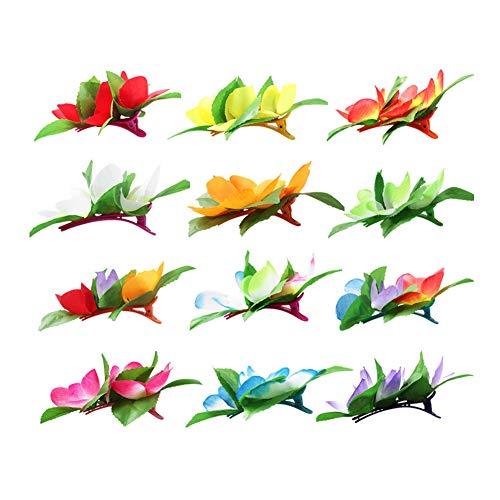 Snner Blumen-Haarspange 12st hawaiianischen Hula Partei-Abendkleid-Kostüm-Partei-Haar-Zusätze Plastikblumen-Hairpin