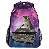 Wamika Funny Kitty Cat School Backpacks for Girls Kids Boys Galaxy Nebula Book Bag Waterproof Student Laptop Backpack Casual Extra Durable Lightweight Travel Sports Day Pack College Carrying Bags