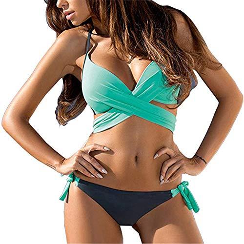 DHHY Bikini para Mujer con Traje de baño Grande Bloque de Color Color del Caramelo Bikini Cruzado Traje de baño de Color A Juego Colgar Cuello Traje de baño