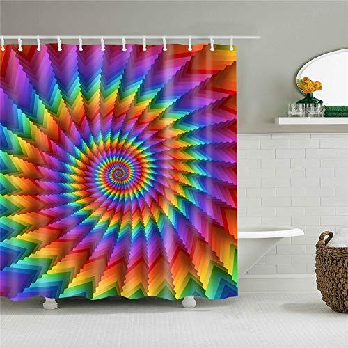 Fansu Duschvorhang Anti-Schimmel, 3D Drucken 100prozent Polyester Bad Vorhang Wasserdicht Anti-Bakteriell mit C-Form Kunststoff Haken mit 12 Ringe für Badzimmer (Regenbogen drehen,90x180cm)