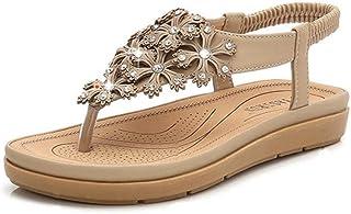 Summer Slippers Women Summer Peep-toe Slip On Flat Sandals Lightweight Beach Pool Indoor Outdoor (Color : Apricot, Size : 41)