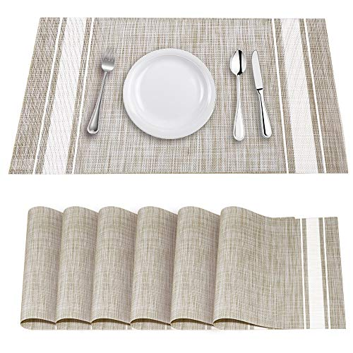 YOSICHY Table Mats Set of 6 Crossweave Woven Vinyl Placemats Heat Resistant Non-Slip Kitchen Placemats for Dining Table Washable Easy to Clean(White)