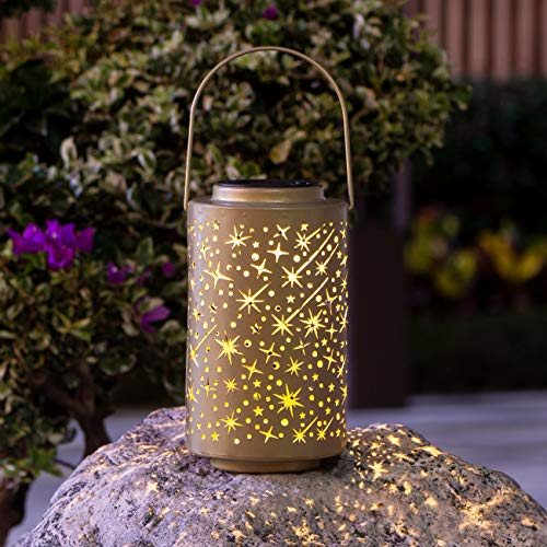 Btfarm Farol Estrellas Solar Exterior Jardín, Linterna Solar Exterior Lámpara de Jardín Impermeable IP65 Farol Solar para Exteriores de Decoración Luces Decorativas para Jardin Terraza Patio Navidad