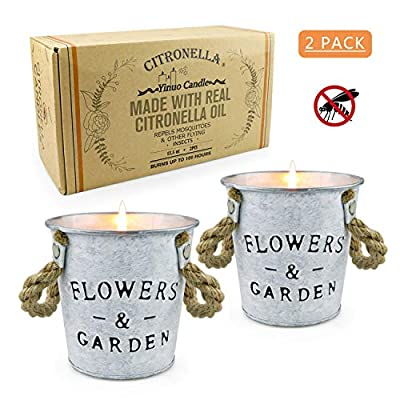 Citronella Candles Outdoor, 13.5 x 2 OZ Natural Soy Wax Mosquito Hateful Bucket Scented Candles Aromatherapy Gift Set for Bedroom, Garden, Patio, Camping Picnic