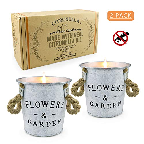 Citronella Scented Candles,13.5 OZ Natural Soy Wax Bucket Candles Flower Pot Travel Tin Candle Sets for Indoor or Outdoor, Garden, Patio, Camping Picnic -2 Packs