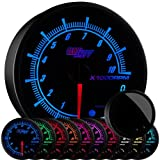 GlowShift Elite 10 Color 10,000 RPM Tachometer Gauge - Includes Shift Light - Mounts in Custom Dashboard - for 1-10 Cylinder Gas Powered Engines - Black Dial - Tinted Lens - Peak Recall - 3-3/4' 95mm