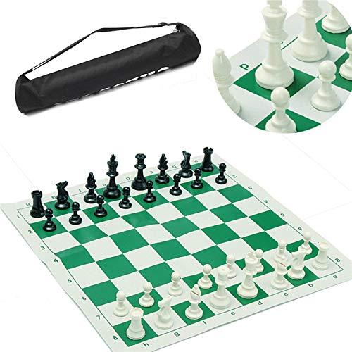 GYPPG Juego de Tablero de ajedrez Tradicional portátil de Viaje, para Club de torneos con Tablero Verde Enrollable + Bolsa de plástico Juego de ajedrez (34,5 x 34,5 cm)
