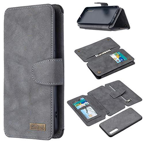Snow Color Coque Galaxy A50 / A50S / A30S Portefeuille, en Cuir Flip Case pour Bumper Protecteur Magnétique Fente Carte Housse Cover Coque pour Samsung Galaxy A50 - COBFE080106 Gris