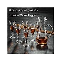 ルームResturantのガラスカップ、スタイル04ダイニング白ワインゴブレット7つの小品/セットショットグラスとフラゴンセットの婚姻小さなカップ