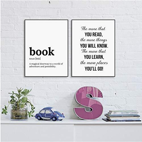 asasI9 Minimalistischer Buchtext Lernen Sie mehr über Leinwandmalerei Poster und Drucke Schlafzimmer Wandkunst Bilder Wohnzimmer Dekor 40x60cm (Größe) Ohne Rahmen