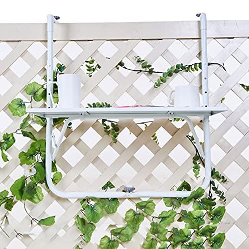 AWSAD Escritorio de Computadora Flotante Mesa de Elevación Mesa Colgante de Barandilla de Balcón Pequeño Bar Casero por Balcón/Jardín/Valla, Ajustable (Color : White, Size : 60X40cm)