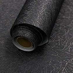"""top rated 15.7 """"x 118″ black silk wallpaper Adhesive embossed wallpaper, peel and paste removable … 2021"""