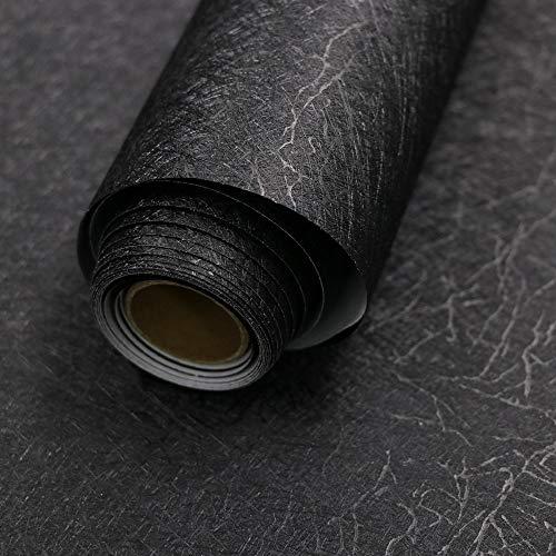 15.7″ X 118″ Black Silk Wallpaper Embossed Self Adhesive Peel and Stick Wallpaper