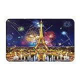 AIKIBELL Alfombrilla de baño,Pintura de la Torre Eiffel de París de los Fuegos artif,alfombras Antideslizantes para decoración del hogar,Felpudo Suave y Duradero