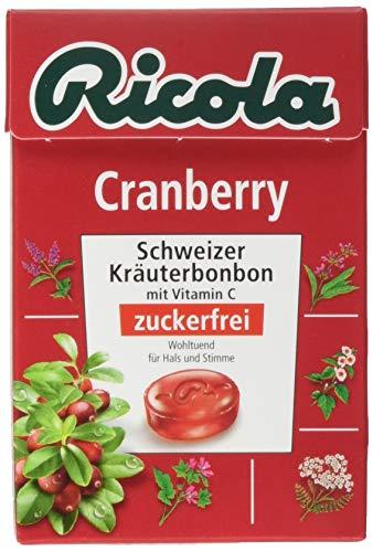 Ricola Cranberry, Schweizer Kräuterbonbon, 10 x 50g Böxli, ohne Zucker, Wohltuend und erfrischender Genuss