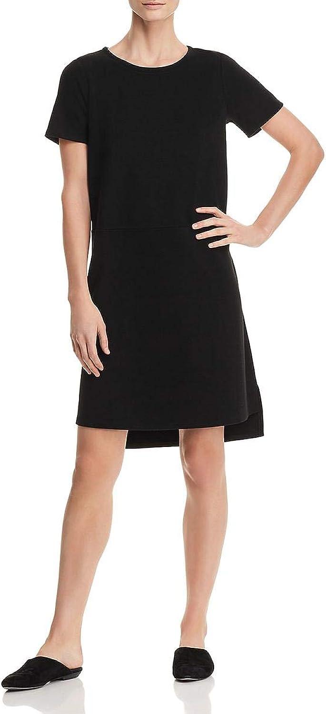 EileenFisher Womens Petites Tencel Short Sleeve Shift Dress