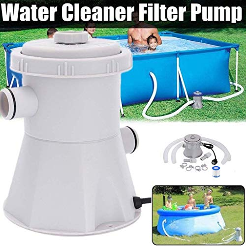 Bombasty 110V 330 GPH Clear Cartridge Filter Pump for Above Ground Pools Pool Filter Fit Electric Swimming Pool Filter Pump for 100-350GAL Above Ground Pools Cleaning Tool Hot Tub Garden