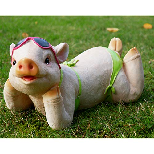 Darthome Ltd Resin Outdoor Garden Laying Pig In Bikini Lawn Sculpture Statue Ornament Gift 32cm