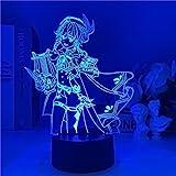 Anime Figura Lampada Genshin Impact Venti Luce Notturna 3D Illusione Gioco Luce per Camera Da Letto Decor Led Atmosfera Comodino Kids-Telecomando
