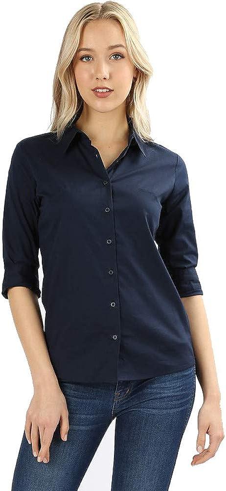 Zenana Women's Button Down 3/4 Sleeve Stretch Cotton Collar Dress Shirt