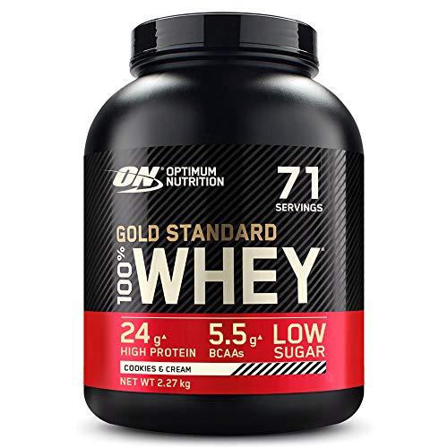 Optimum Nutrition Gold Standard 100% Whey Proteína en Polvo, Glutamina y Aminoácidos Naturales, BCAA, Galletas y Crema, 71 Porciones, 2,27kg, Embalaje Puede Variar