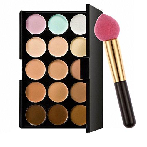 Non-brand 15-couleurs Contour Concealer Palette Cosmétiques & Facial Foundation Makeup Brush - houppe à poudre goutte d'eau