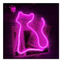 シャイニング ネオンサイン、クリエイティブ・ツェッペリンネオンライト、装飾ネオンサインは、ウェディングパーティーの家の装飾に適しています 家族でのパーティー、誕生日パーティー、雰囲気 (Color : Cat Pink)