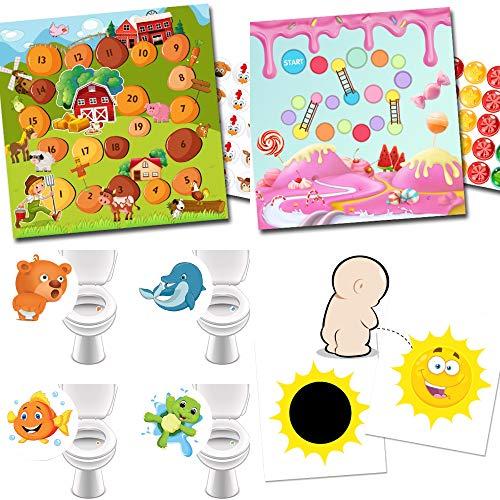 Potje training met 2 beloningssystemen boerderij + snoepgoed / 4 wc-stickers favoriete dieren / 2 magische stickers zon