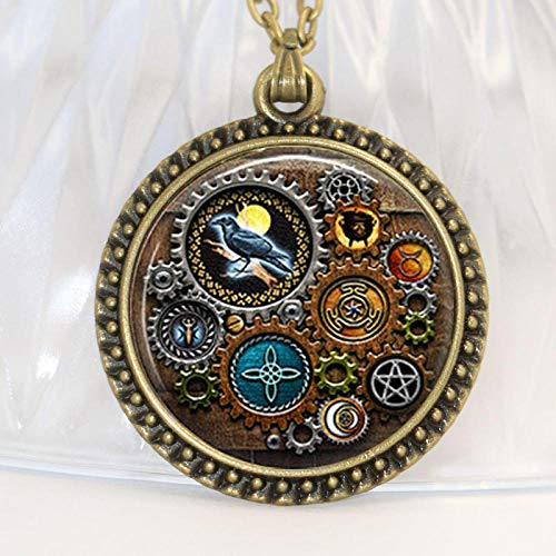 BORTEO-KHZWQ Mujeres Joya Colgante Collar1 Par The Witches Shadowbox of Symbols Steampunk Inspired Necklace Jewelry Glass Glass Cabochon Necklace