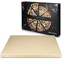 navaris pietra refrattaria per cottura pizza xl- per cuocere nel forno di casa pane pizza focacce teglia rettangolare 38x30cm cottura 800° cordierite