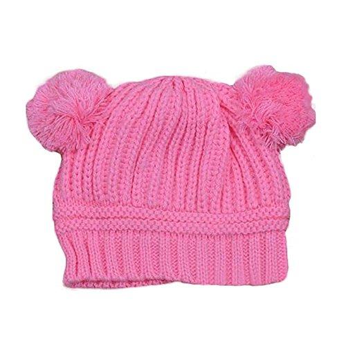 Aulola Gorro de invierno para recién nacido, cálido, de doble pelo, con pompón, gorro de punto, para bebé, bebé, niña, niña, niña, niña, con letra, gorro de lana, de 6 meses a 5 años