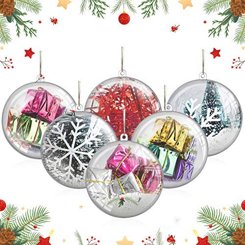 20 Pack 80mm/3.15in Fillable Clear Ornaments Balls, DIY Plastic Christmas Tree Decorations Balls Baubles Transparent Ball Gifts for New Years Present Holiday Wedding Party Home Decor Soap Bath Bomb