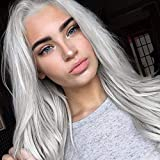 JINGFA Silver Platinum Blonde Lace Front Wigs for Women Long Natural Straight Wavy Synthetic Replacement Hair Wig Soft Heat Resistant Ash Wigs 24 Inch