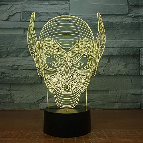 WisdomMi lámpara de noche con mando, 3D 16 colores - de reloj dorada - altavoz Bluetooth negra - Payaso Sonriente De La Película - Lámpara Luz De Noche Para Niños Táctil Mesa Dormir Bebé Nocturna Rega