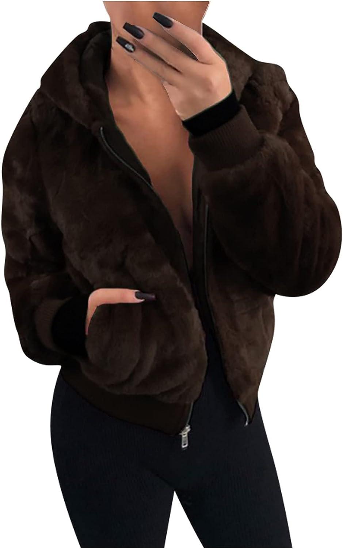 Cardigoo Women's Hooded Jacket for Women Casual Lapel Fleece Fuzzy Faux Shearling Zipper Coat Oversized Outwear