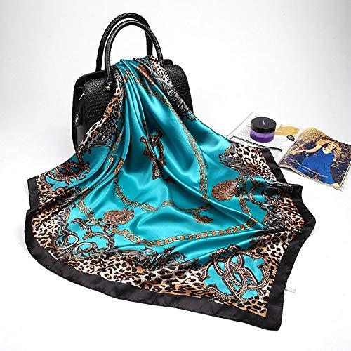 Schal Damen Mode Leopardenmuster Schals Für Frauen Seide Satin Hijab Schal Weiblich 90 * 90Cm Luxus Quadratischen Schal Stirnband Schals Für Damen 90X90Cm Kaffee