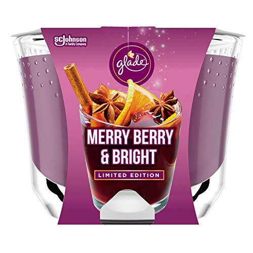 Glade (Brise) Langanhaltende Duftkerze im Glas, Merry Berry & Bright (Rote Beeren, Glühwein, Zimtstangen), bis zu 39 Stunden Brenndauer, 4er Pack (4 x 224g)