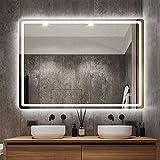 STARLEAD 700 x 1000 mm LED Iluminado Espejo de baño con Interruptor de Sensor táctil, Almohadilla antiempañador, Espejo Inteligente Multifuncional para Montar en la Pared, Ahorro de energía