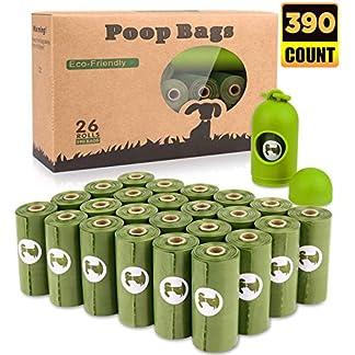 Dog Poop Bags Biodegradable 26 Rolls (390 Counts) Dispenser, Scented Leak-Proof Dog Waste Bags 18
