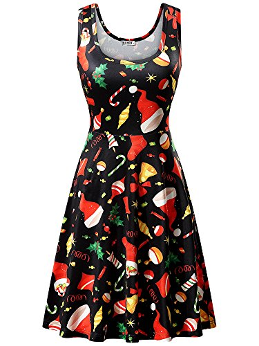 HUHOT Black Dresses, Women Xmas Gift Print A Line Flared and Fit Christmas Party Dress (X-Large, Black Christmas Hat-4)