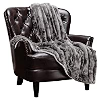 Chanasya Cloud Print Reversible Velvet Fleece Bed Blanket - for Couch Bed Sofa Chair Day Nap - Super Soft Cozy Snuggly Comfort Chick Plush Light Weight Sherpa Blankets - Queen - Grey
