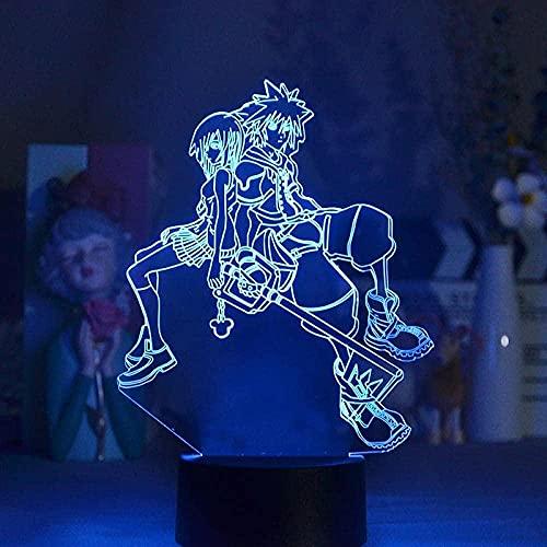 Lámpara de anime 3D Luz de noche Ilusión Luz de luz LED Juego Reino Corazones Sora Kairi Figura para dormitorio Decorativo Niños Niño Fresco Tabla de regalo Control Remoto 3D-Tocar