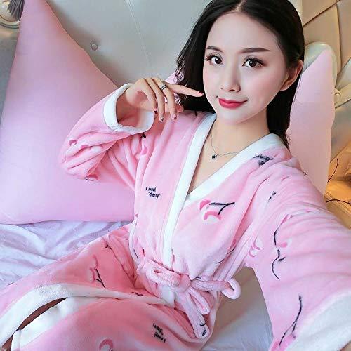 AIYASIWEI Stijlvolle en zachte zachte zachte flanel Koraal Fleece vrouwen Warm Volledige Mouw Super Lange Badjas Vrouwelijke Kimono Badjas Dressing Jurk Robes Herfst Winter (Kleur : X, Maat : XL(170cm))